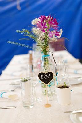 Jeder Tisch bekam einen Namen, so fand jeder Gast, schnell zu seinem Platz.
