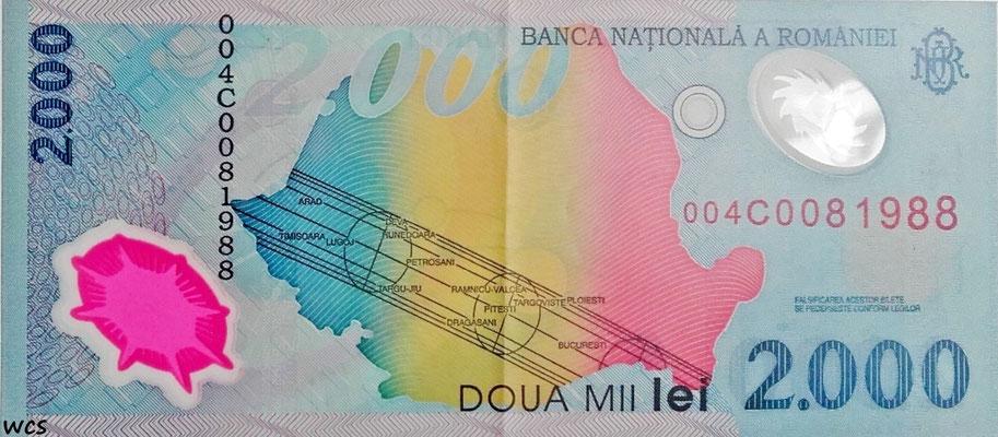 Romania 2000 Lei 1999 P.111a