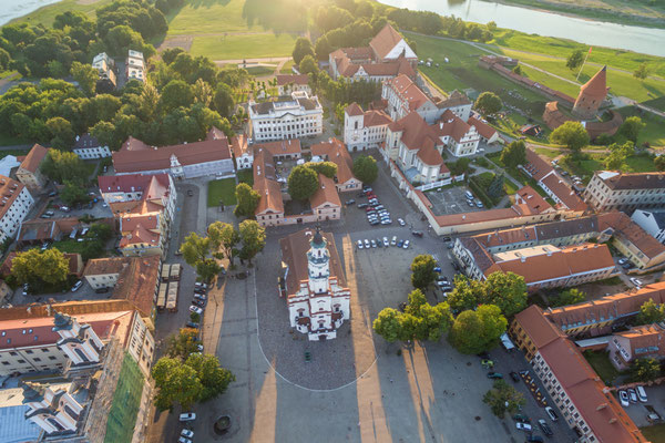 Aerial image of Kaunas city, Lithuania. Summer sunset scene. - A. Aleksandravicius