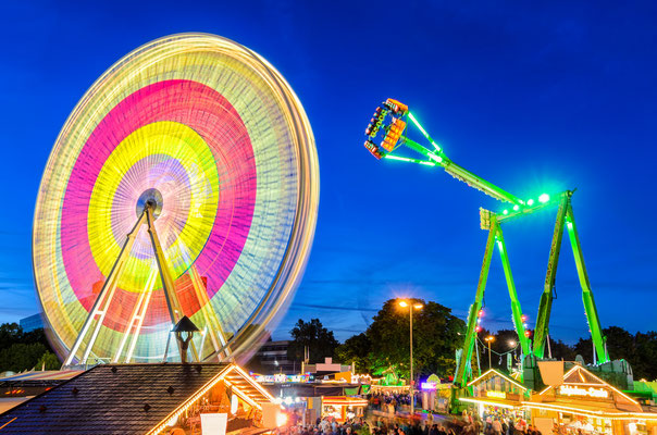 Amusement park at night at the marksmen festival in Hannover, Germany Copyright Mapics