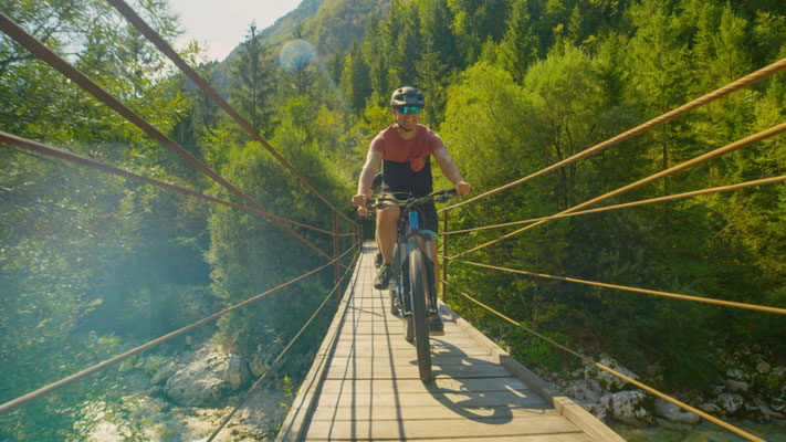 Soca Valley Byking bridge copyright Flystock