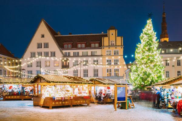 Traditional Christmas Market in Tallinn, Estonia - Raekoja Plats - By Grisha Bruev