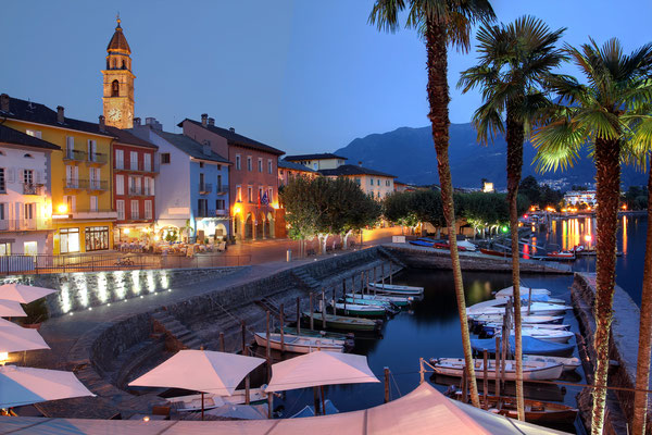 Night scene of famous resort of Ascona on Lake Maggiore in the canton of Ticino, Switzerland -