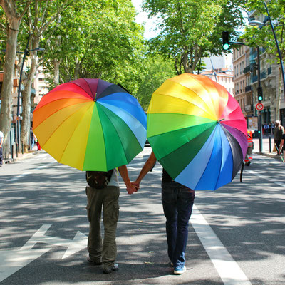 A happy gay couple in a parade in Toulouse, France. Copyright Ismail Can Albayrak