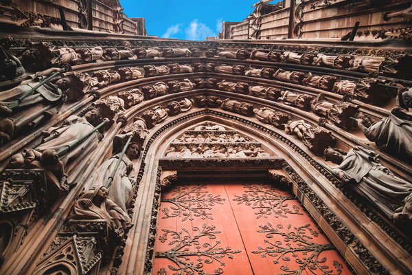 Strasbourg, Le Petite France, Copyright Notre Dame of Strasbourg Cathedral entrance. Copyright fischers