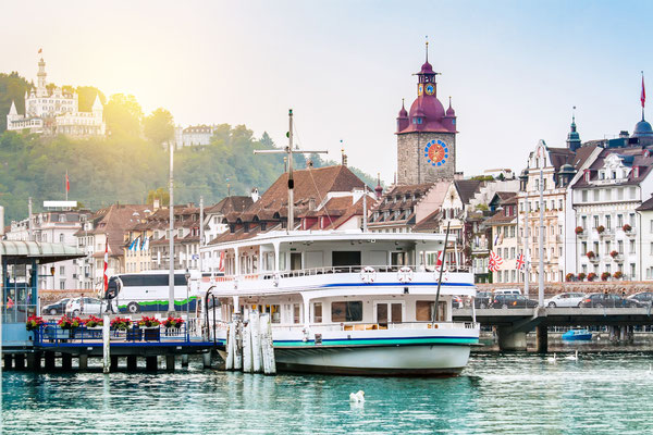 Harbour and buildings in city center in Lucerne, Switzerland Copyright Mariia Golovianko