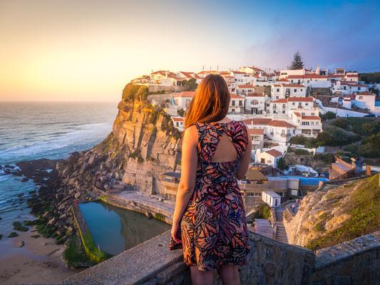 Woman's back looking at Azenhas do Mar Landscape near Sintra, Portugal - Copyright Iuri Silvestre