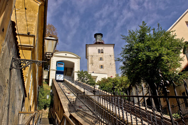 The funicular of Zagreb and the Lotrscak Tower by xbrchx