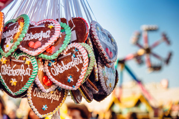 typical souvenir at the oktoberfest in munich - a gingerbread heart - lebkuchenherz Copyright katjen