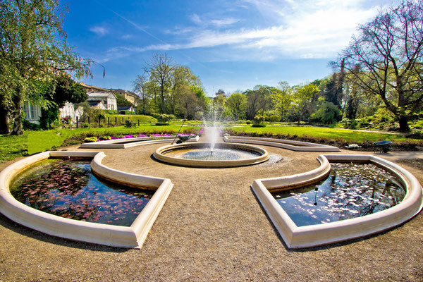 Fountain and park in Zagreb, capital of Croatia - Copyright xbrchx