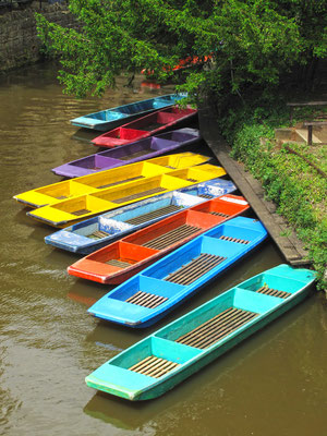 Colorful punts on river in Oxford, United Kingdom. HDR photo. Copyright Peteri