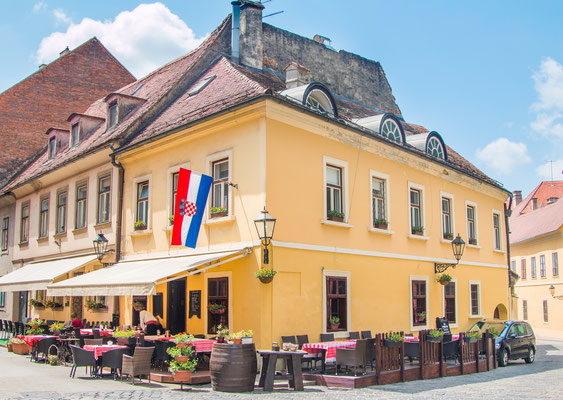 Street corner on historic Upper Zagreb, capital of Croatia - Copyright iascic