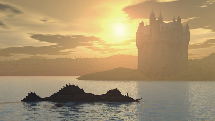 Loch Ness Monster and Scottish Castle Computer generated 3D illustration Copyright Michael Rosskothen