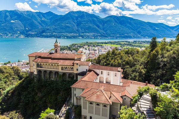 View of Madonna del Sasso Church above Locarno city and the Maggiore lake in Ticino, Switzerland - Copyright Peter Stein
