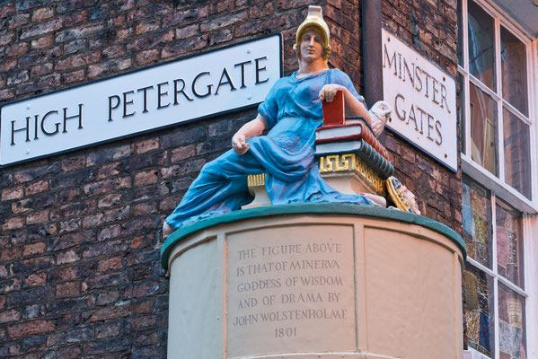 Goddess of Wisdom Figure York England at High Petergate and Minster Gates Streets Copyright Michael Warwick