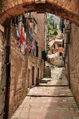 Backstreet in Kotor, Montenegro - Copyright Robert Jakatics