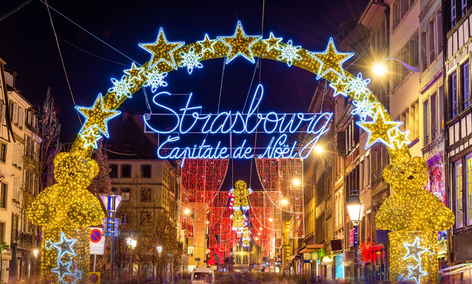 Entrance to the city centre of Strasbourg on Christmas time Copyright Leonid Andronov
