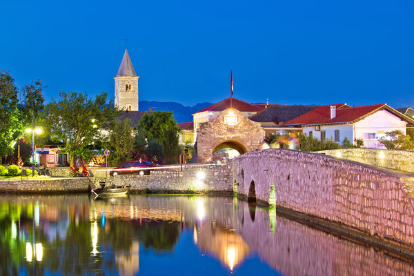 Colorful Nin waterfront evening view, Dalmatia, Croatia - Copyright xbrchx