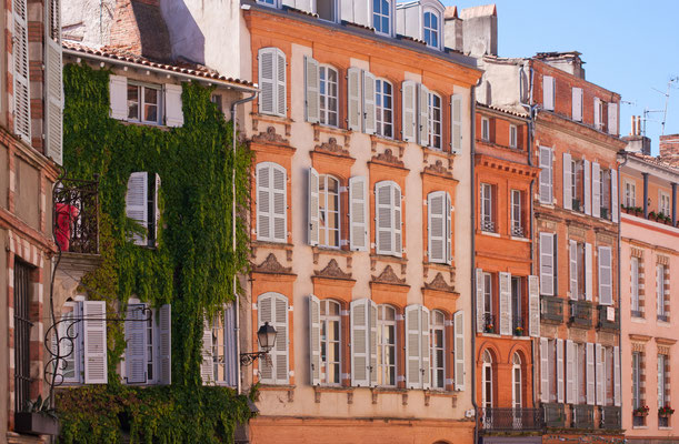 View on facades on a square of Toulouse, France Copyright MIPImages