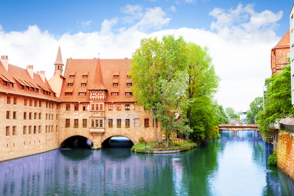 View of the Pegnitz River in Nuremberg from Fleisch Bridge, Bavaria, Germany Copyright Sergey Novikov