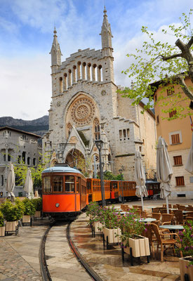 Old tram in the downtown of Soller, Mallorca, Spain by Boris Stroujko