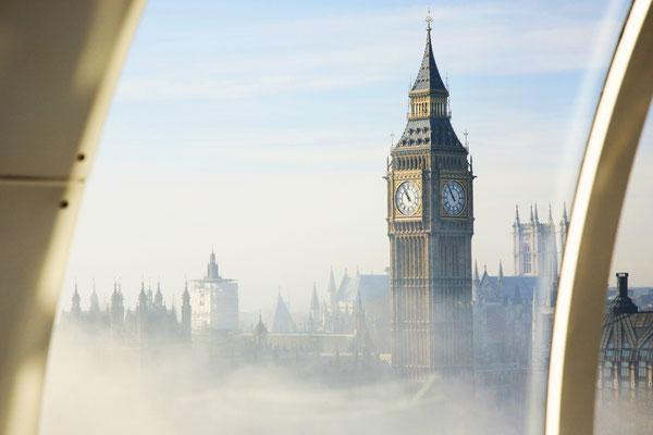 Palace of Westminster in fog seen from London Eye Copyright Bikeworldtravel