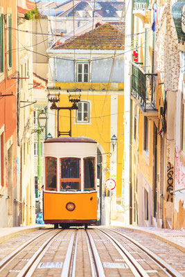 Lisbon's Gloria funicular classified in Bairro Alto in Lisbon, Portugal Copyright Marcin Krzyzak