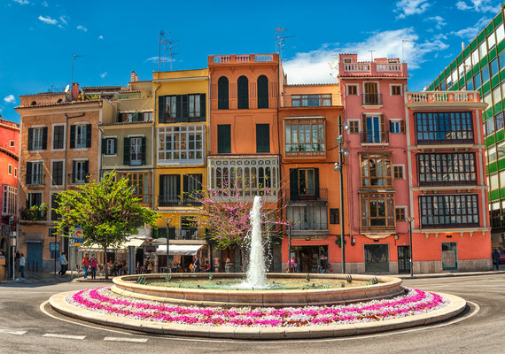 Old colorful houses in the center of spanish town Palma de Mallorca, Spain by Boris Stroujko