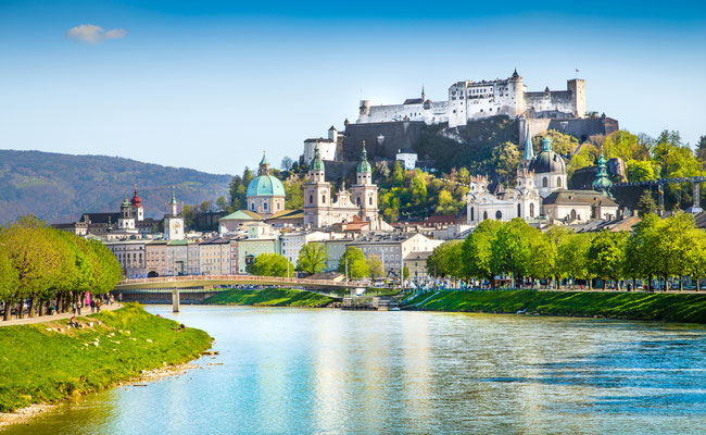 Beautiful view of Salzburg skyline with Festung Hohensalzburg and Salzach river in summer, Salzburg, Salzburger Land, Austria Copyright canadastock