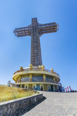 Millennium Cross on a top of the Vodno mountain hill above Skopje, Macedonia Copyright Zefart