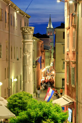 Colorful historic street of Zadar - Night view - Copyright xbrchx