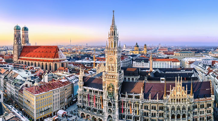 Panorama view of Munich city center showing the City Hall and the Frauenkirche, Germany Copyright Mapics