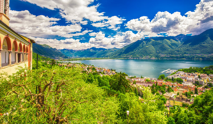 view to Locarno city, lake Maggiore (Lago Maggiore) and Swiss Alps in Ticino from from Madonna del Sasso Church, Switzerland - Copyright gevision