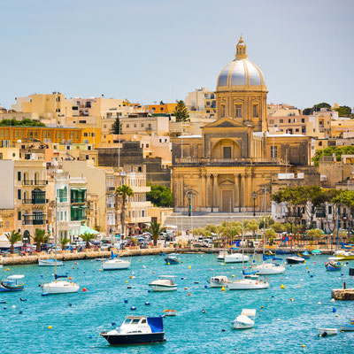 many little yachts and boats from plan wiev to the bay near Valletta in Malta Copyright In Green