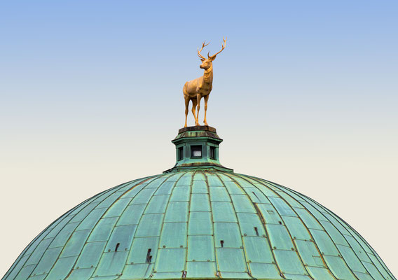 Stuttgart, Germany golden deer sculpture on the Palace of Arts dome at Schlossplatz Copyright Luisa Fumi