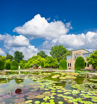 formal garden. beautiful pond in public park. Stuttgart, Germany, Europe Copyright LiliGraphie