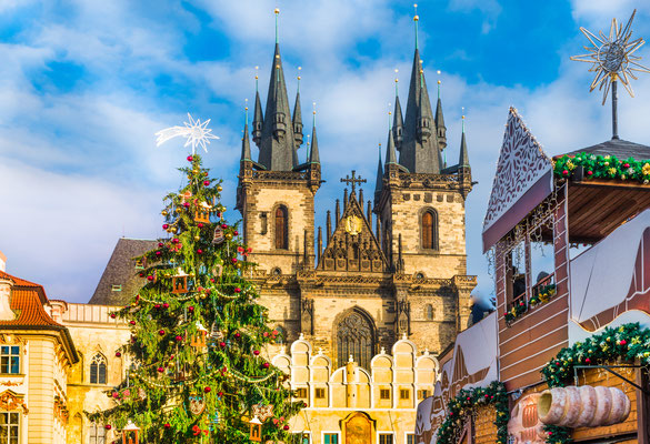 Christmas tree and fairy tale Church of our Lady Tyn in magical Prague, Czech Republic - By Balate Dorin