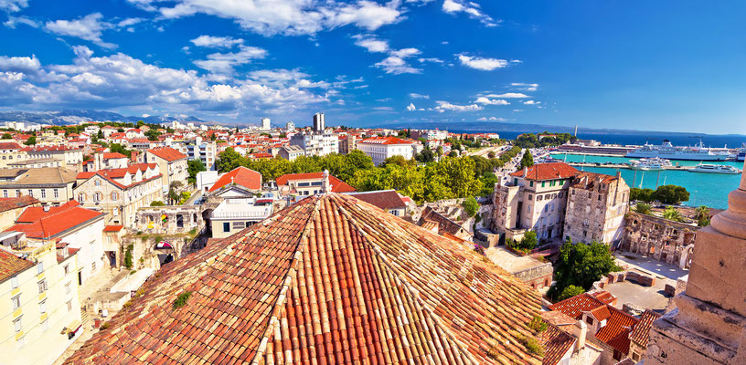 Historic Split rooftops panoramic view, Dalmatia, Croatia by xbrchx