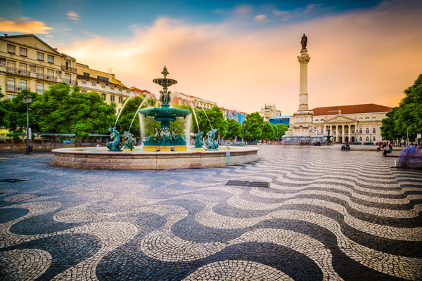 Lisbon, Portugal cityscape at Rossio Square. Copyright Sean Pavone