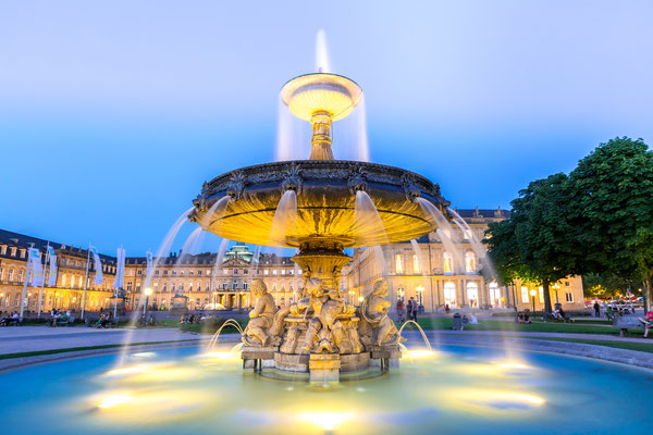 Fountain at neues Schloss New palace in Stuttgart city center, Germany at dusk Copyright vichie81