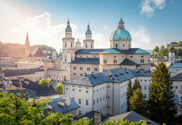 Skyline of Stadt Salzburg with Cathedral in summer at sunset, Salzburg, Austria copyright mRGB