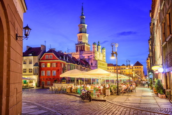 Main square of the old town of Poznan, Poland on a summer day evening. Copyright Boris Stroujko
