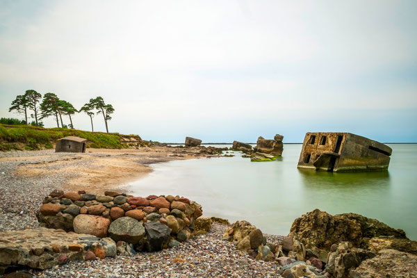 Landscape of abandoned old ussr Northern fortress in Liepaja, Lativa Copyright dinozzaver