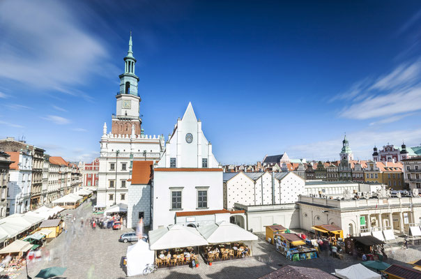Historic Poznan City Hall located in the middle of a main square, Poland Copyright Sopotnicki