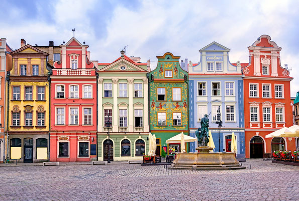 Colorful renaissance facades on the central market square in Poznan, Poland Copyright Boris Stroujko