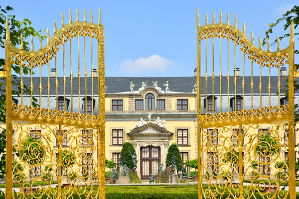 Golden gate at palace of Herrenhausen Gardens, Hannover, Germany. Royal Gardens at Herrenhausen are one of the most distinguished baroque formal gardens of Europe. Copyright Villy Yovcheva