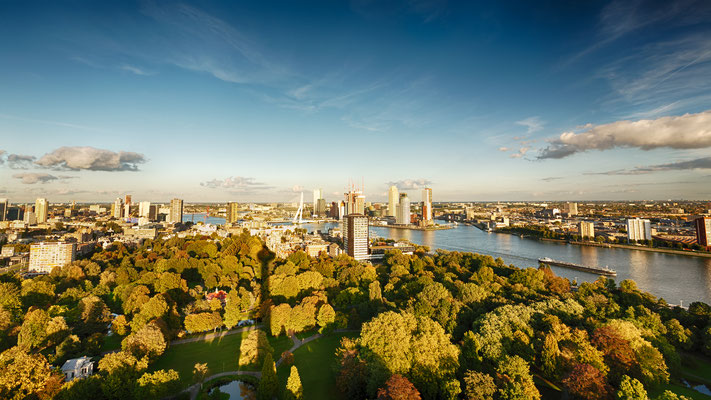 Aerial view of the city of Rotterdam - Copyright ptnphoto