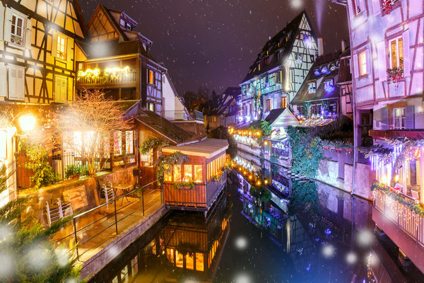 Traditional Alsatian half-timbered houses in Colmar - By kavalenkava