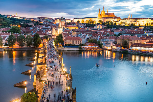 panorama of Prague with red roofs from above summer day at dusk, Czech Republic Copyright NaughtyNut