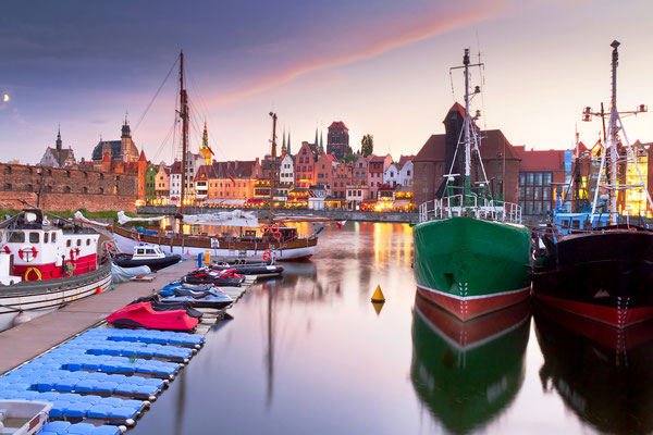 Harbor at Motlawa river with old town of Gdansk in Poland - Patryk Kosmider